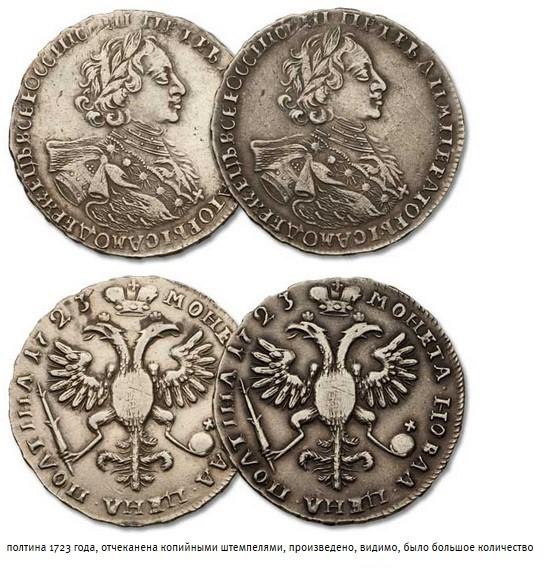 Полтина 1723 года подделка