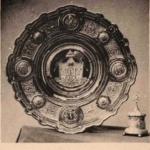 Блюдо и солонка Фаберже, поднесенные от Владимирского Земства Их Императорским Величествам в Москве, в день Священного Коронования