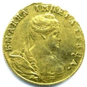 1 червонец (без обозначения номинала) 1738 г. Золото. D-21 мм. Национальный музей Республики Татарстан